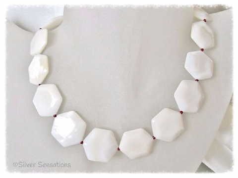 Hexagonal White River Shell & Dark Red Bead Sterling Silver Necklace